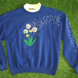 Vintage Blue Dandelion Sweater